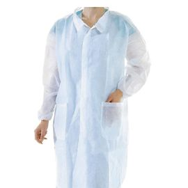 SMS / Pp Pakai Lab Coat Non Woven Knuffed Cuff Surgical Gown Untuk Klinik